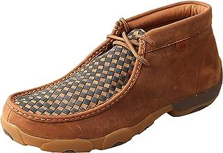 Men's Leather Lace-Up Rubber Sole Moc Toe Driving Moccasins - Copper