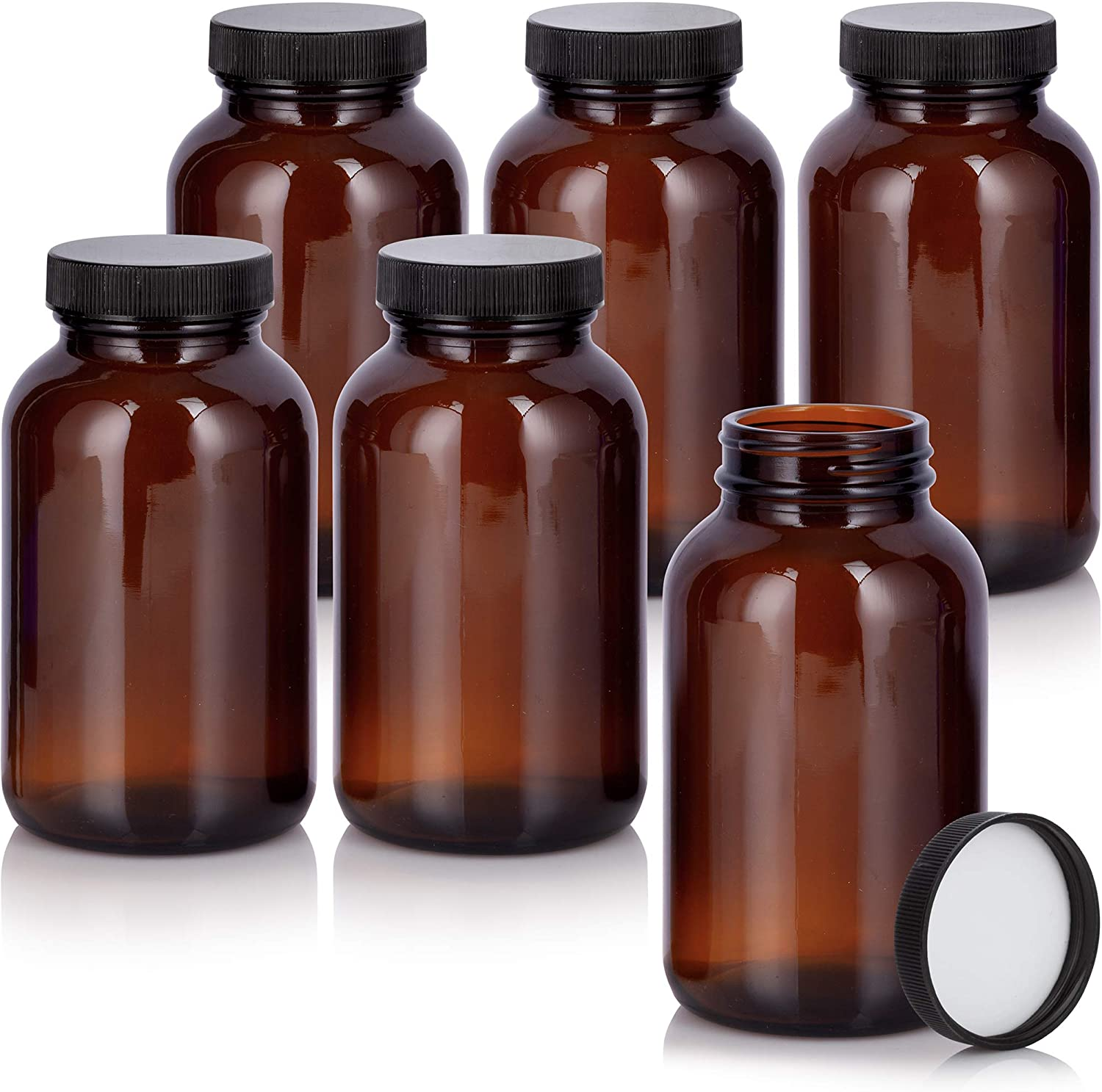 Cash special price Amber 8 oz Glass Packer Bottle Black 6 Ribbed New sales pack with Lid