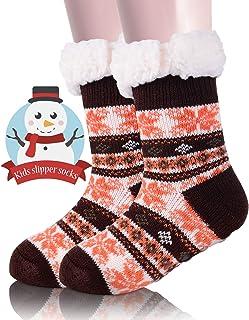 Boys Girls Slipper Socks Fuzzy Christmas Stockings Winter Socks For Kid Children