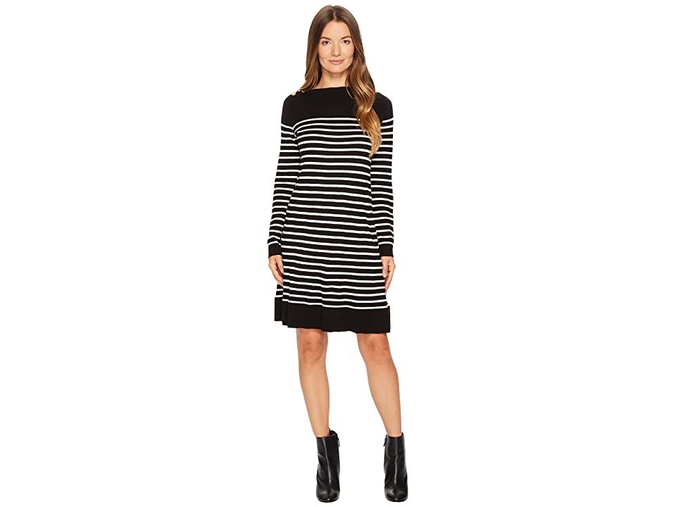 Kate Spade New York Stripe Swing Sweater Dress (Black/Off-White) Women