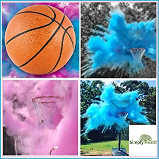 Gender Reveal Basketball, Pink and Blue Powder Kit for Baby Boy Girl Gender Reveal Party. Biggest Basketball Most Powder Biggest Puff and Great Photos Opportunity