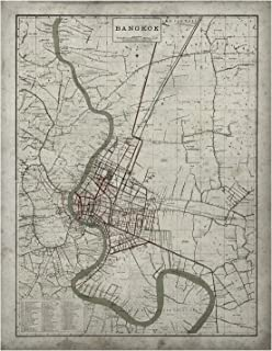 "Archive Print Co. Bangkok Map | Vintage City Map of Bangkok, Thailand | Vintage Wall Art | Home Decor | Wall Map Decor | Circa 19th C. (24"" x 32"" | Frame not Included.)"