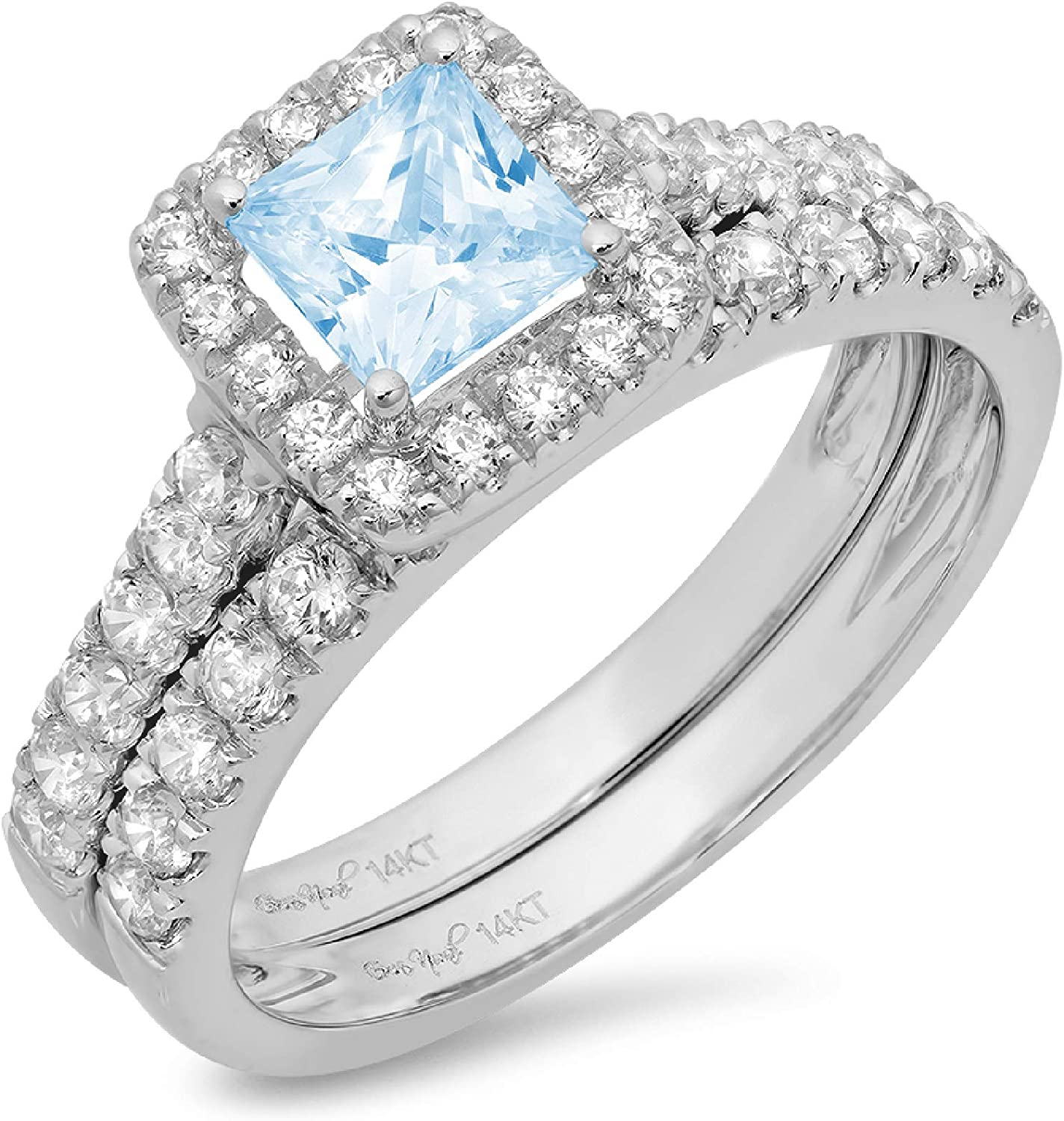 1.57ct Princess Cut Halo Pave Solitaire with Accent Natural Sky Blue Topaz Designer Statement Classic Ring Band Set Real Solid 14k White Gold