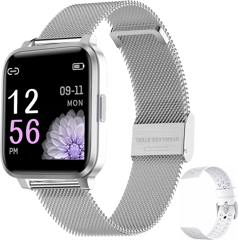 Smartwatch Mujer Hombre Reloj Inteligente IP68 con 17 Modos de Deporte, Pulsómetro, Monitor de Sueño, Notificaciones Inteligentes, 1.3 Pulgadas Pantalla Táctil Completo Smartwatch