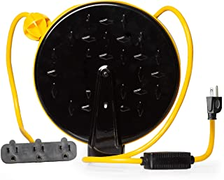 Best Retractable Extension Cord Reel with 3 Electrical Power Outlets - Multiple Gauges & Lengths to Choose From - Perfect for Hanging from Your Garage Ceiling (16/3 Gauge, 30ft Length - Yellow & Black) Review