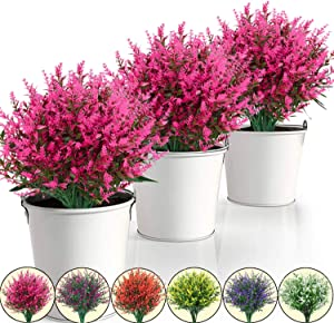 15 Pack Artificial Lavender Flowers Plants Lifelike UV Resistant Fake Shrubs Greenery Bushes Bouquet to Brighten up Your Home Kitchen Garden Indoor Outdoor Decor (Pink)