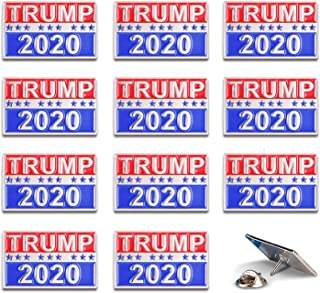 Trump 2020 President Election Pin Accessories, Support Trump Silver Enamel Metal Pins, Pack of 12
