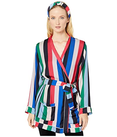 Plush Rainbow Stripe Pajama Robe + Headband Set (Multi) Women