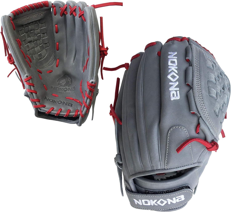 "Nokona AmericanKip Gray 12.5/"" A-V1250C-GR RD Fastpitch Softball Glove Red Lacing"