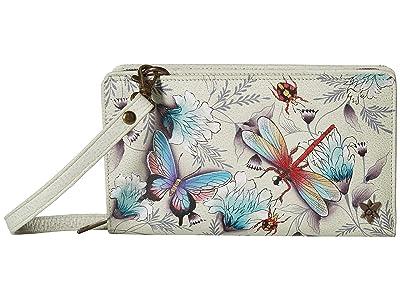 Anuschka Handbags 1149 Cell Phone Crossbody Wallet (Wondrous Wings) Handbags