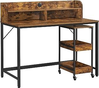 VASAGLE Bureau avec rehausseur d'écran, Table d'Ordinateur, Table Informatique, Trou pour câbles, Chariot à 3 Niveaux Cadr...