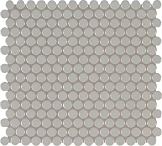 MS International AMZ-M-00230 Gray Glossy Penny Round Mosaic Tile 11.57in x 15in