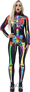 Halloween Costumes for Women 3D Skeleton Cosplay Jumpsuit Bodysuit
