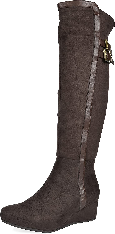 DREAM PAIRS Women's Bailee Low Wedge Heel Over The Knee Winter Boots