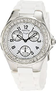 Invicta Women's 1648 Angel Crystal Accented White Dial White Silicone Watch