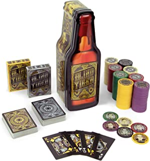 Brybelly Blind Tiger Prohibition Poker Chip Set - 2 Decks Gangster and Roaring Twenties Themed Playing Cards and 200 Poker Chips in Whiskey Bottle Gift Tin