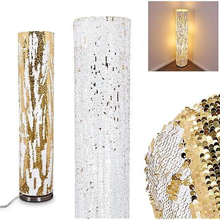 Lampadaire Sjaelland à paillètes blanches & or pouvant être retournées à volonté pour créer des motifs sur l'abat-jour, avec interrupteur à pied, pour 2 ampoules E27 max 40 Watt, compatible LED