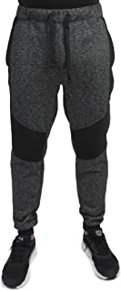 Men's Marled Yarn Fleece Moto Jogger Pant Rib Cuffs Quilted Knee