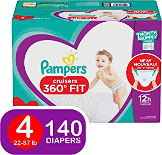 Pampers Pull On Diapers Size 4 - Cruisers 360˚ Fit Disposable Baby Diapers with Stretchy Waistband, 140Count ONE Month Supply