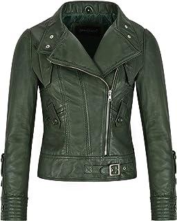 Giacca in Vera Pelle da Donna Supermodel Verde Fashion Designer Biker Style 4110