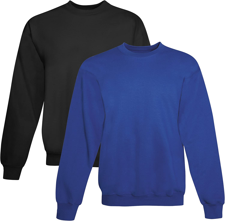 Hanes mens 7.8 oz. ComfortBlend EcoSmart 50/50 Fleece Crew(P1607)-BLACK/DEEP ROYAL-3XL