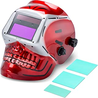 Neiko 53932A Auto-Darkening Welding Helmet | TIG, MIG, MMA, MAG/CO2 | Solar and Battery Powered | Red Skeleton Design