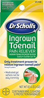 Dr. Scholl's Ingrown Toenail Pain Reliever, 0.3oz // Medicated Gel Softens Nails for Easy Trimming and Foam Ring and Bandage Protect the Affected Area