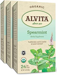 Alvita Organic Spearmint Herbal Tea - Made with Premium Quality Organic Spearmint Leaves, A Delicate Mint Flavor and Aroma...
