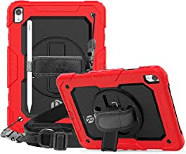 Apple Ipad Pro 10.5 / Ipad Air 3 Remson Rugged Shockproof Drop Protection with 360 Rotating Kickstand/Shoulder Strap Cover (Red)