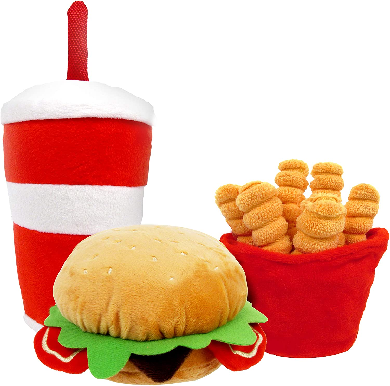 TONBO Happy Chow Combo - Squeaky Plush Cute Dog Toys, Burger, Fries, Soda (Happy Chow Combo)