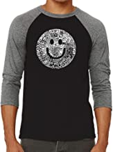 LA Pop Art Men's Raglan Baseball Word Art T-Shirt - Smile in Different Languages