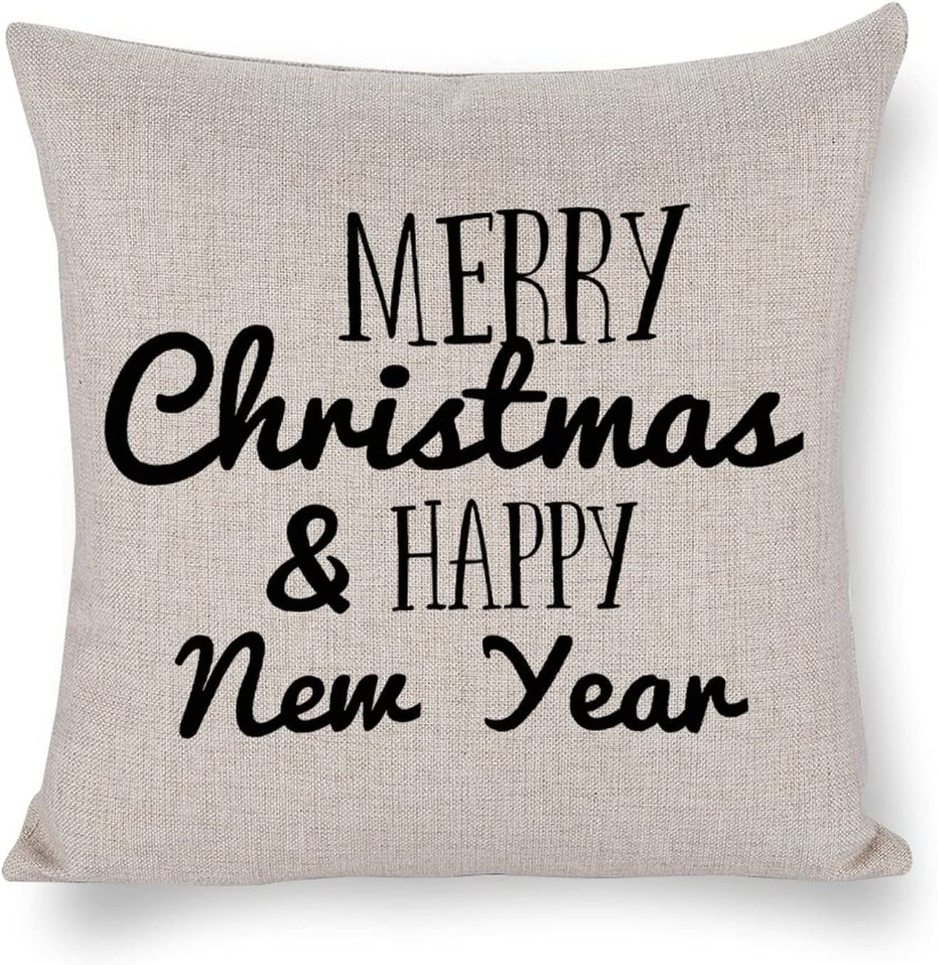 UTF4C Merry Christmas Happy New Year H Cushion Over item handling ☆ Raleigh Mall Linen Cotton Sofa