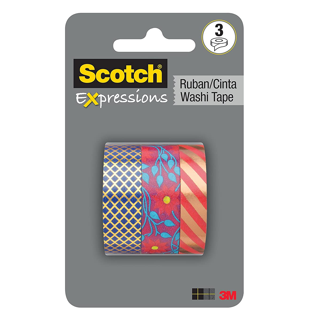 Expressions Washi Tape Multi Pack, 3 rolls/pk, Vintage Floral and Foil Collection (C1017-3-P1)