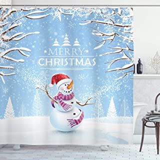 Ambesonne Christmas Shower Curtain, Snowman in a Snowy Winter Day with Xmas Hat Frosty Noel Kids Nursery Theme, Cloth Fabric Bathroom Decor Set with Hooks, 75