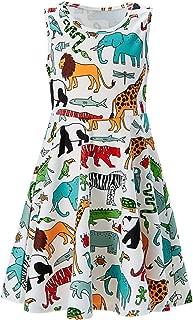 RAISEVERN Girls Sleeveless Dress Mermaid Fish Scale Dress for Kids 4-13 Years