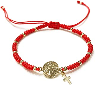 St Benedict Medal Adjustable Red String Pulsera San Benito