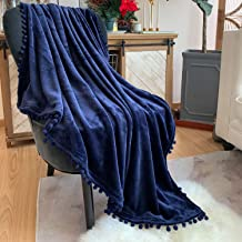 LOMAO Flannel Blanket with Pompom Fringe Lightweight Cozy Bed Blanket Soft Throw Blanket fit Couch Sofa Suitable for All Season (51x63) (Dark Blue)