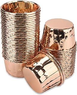 أكواب كب كيك ذهبية، Eusoar 4.8 سم × 4.6 سم × 6.8 سم بطانات مافن للاستعمال مرة واحدة 50 قطعة، أكواب خبز الكعك الذهبي الورد...