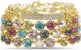 Steve Madden Rhinestone Bar Layered Yellow Stacking Stretch Bracelet for Women