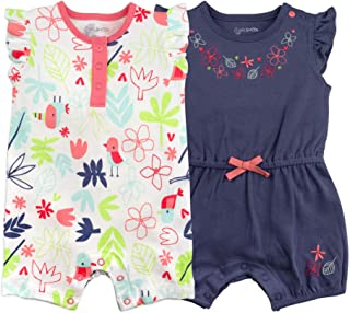 Mac & Moon Rompers, Jumpsuit for Baby Girls, 2-Pack, Floral Prints, 3-Months