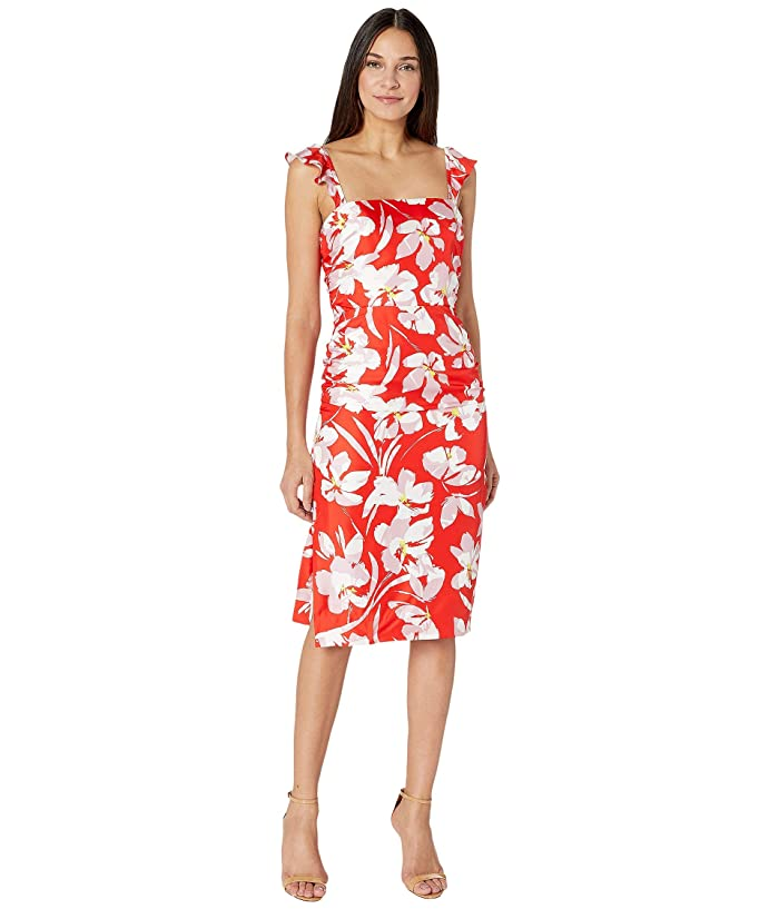 Milly  Hibiscus Print on Silk Twill Dayna Dress (Coral Multi) Womens Clothing