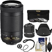 Nikon 70-300mm f/4.5-6.3G VR DX AF-P ED Zoom-Nikkor Lens with 3 Filters + Hood + Pouch Kit for D3300, D3400, D5500, D7100, D7200 Cameras