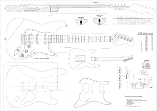 Full Scale Guitar Plans - Fender Stratocaster HSS Electric Guitar - actual size