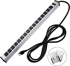 16 outlets Power Strip Offers 15A, 125V Multi-Outlet AC Power, 1875W Maximum Power,9.8Feet Cord Length and Power Switch
