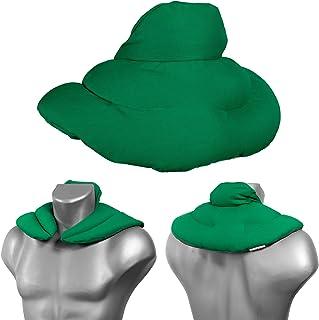 Coussin de nuque avec col montant - Vert - Coussin aux noyaux de cerises - Coussin épaules et cou - Coussin chauffant (cha...