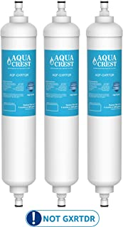 AQUACREST GXRTQR Inline Water Filter, Compatible with GE GXRTQR, GXRTQ System, Reduces Chlorine, Fluoride, Limescale and More, For Refrigerator, IceMaker, RVs (Pack of 3)