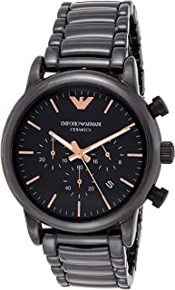 Emporio Armani Men's Black Dial Ceramic Band Watch - Ar1509, Analog Display