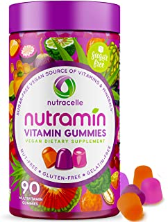 NUTRAMIN Daily Vegan Keto Multivitamin Gummies Vitamin C, D3, and Zinc for Immunity, Plant-Based, Sugar-Free, Nut-Free, Gl...