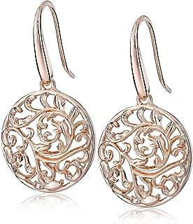 Plated 925 Sterling Silver Filigree Disc Dangle Earrings