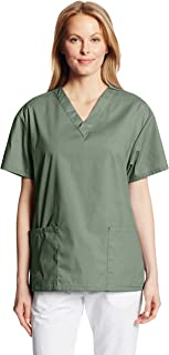 Dickies Womens EDS Signature Scrubs EDS Signature V-Neck Top with Patch Pockets Medical Scrubs Shirt - Green - Medium